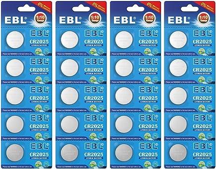 EBL CR2025 Pilas de Botón de Litio 3V para Relojes, Linternas, Llaves del Coche, Calculadoras, Cámaras - 20 Unidades