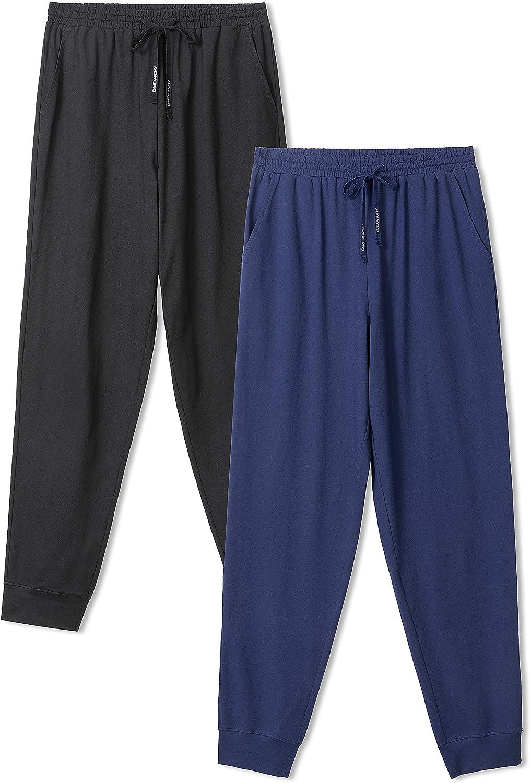 DAVID ARCHY Men's Soft Cotton Pajama Pants Lounge Wear Long PJs Bottoms 1 or 2 Pack