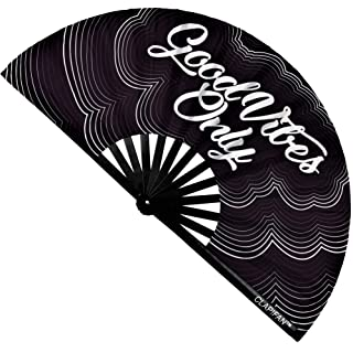 ClapFan Rave Fan Good Vibes Only, Large Bamboo Loud Clack Folding Hand Fan for EDM, Music Festival, Party, Parade, Performance, Cruise, Club, Event, Dance, for Men/Women, 13 inch (Black)