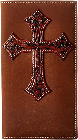 Tooled Cross Overlay Rodeo Wallet