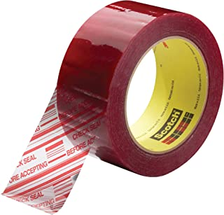 Scotch Printed Message CHECK SEAL BEFORE ACCEPTING Box Sealing Tape 3779 Clear, 48 mm x 100 m, Conveniently Packaged (Pack of 1)