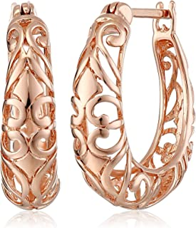 Sterling Silver Textured Filigree Round Hoop Earrings (0.7 inches)