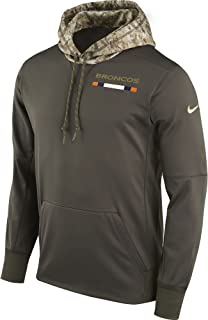 NIKE Men's Denver Broncos STS Pullover Therma Hoodie Cargo Khaki Size Small