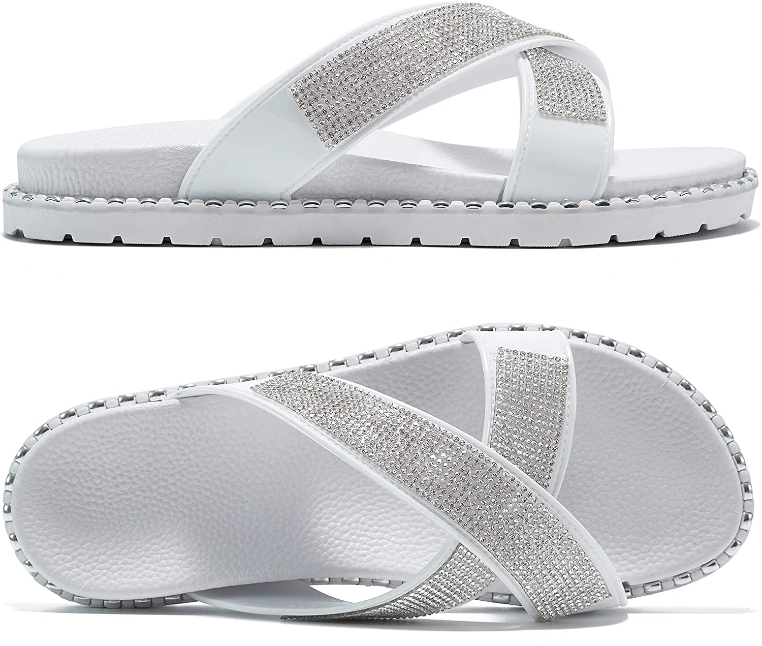 Womens Shoes Comfort Slides Sandals with Arch Support Casual Criss Cross Rhinestone Glitter House Slippers Open Toe Cozy Indoor Outdoor Platform Flats