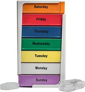 Extra Large 7 Day Stackable Weekly Pill Box Organizer Splitter XL Tower Travel Medication Organizer Morning Noon Afternoon Night Compartments