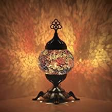 DEMMEX Battery Operated Handmade Colorful Mosaic Glass Compact Table Desk Bedside Lamp Lampshade with Antique Brass Base, ...