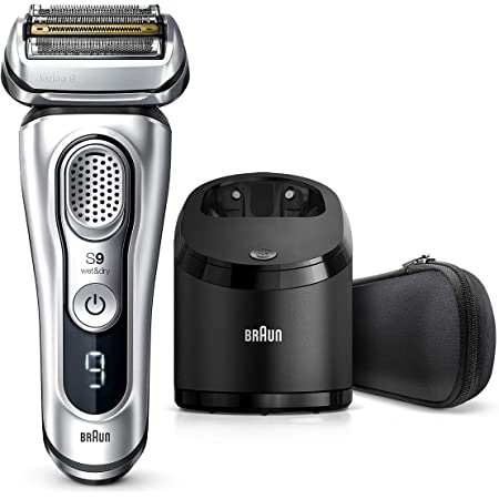Braun Electric Razor for Men, Series 9 9370cc Electric Foil Shaver With Precision Beard Trimmer, Rechargeable, Wet & Dry Foil Shaver, Clean & Charge Station & Travel Case