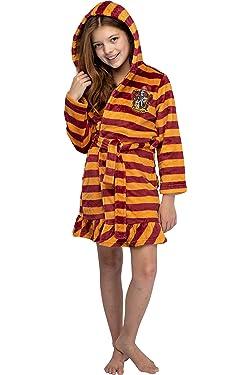 Harry Potter Girls' Striped Ruffle Plush Fleece Robe - All 4 Houses Gryffindor, Hufflepuff, Slytherin, Ravenclaw