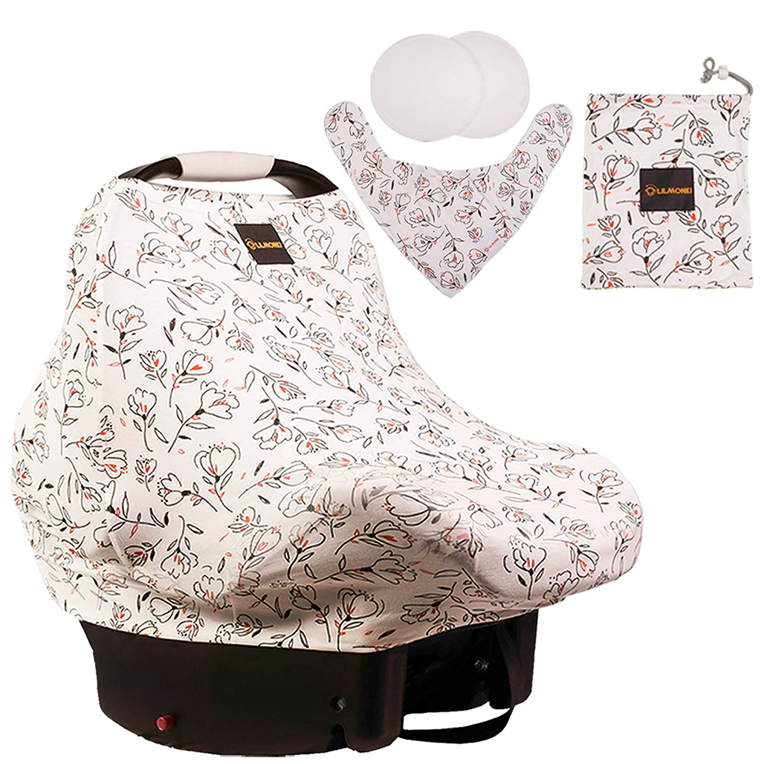 Lilmonki Nursing Scarf Multi-Use - Breathable Car Seat, Stroller, and Cart Cover for Babies - Colorful Tulip Print - Bandana Bib, Pouch & Nursing Pads Included