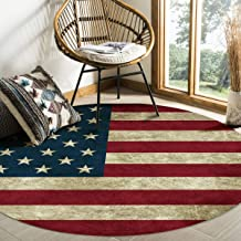 Olivefox 4 Feet Round Area Rugs Pads, Vintage American US Flag Non-Slip Soft Floor Rugs Indoor Carpet for Living Room Bedr...