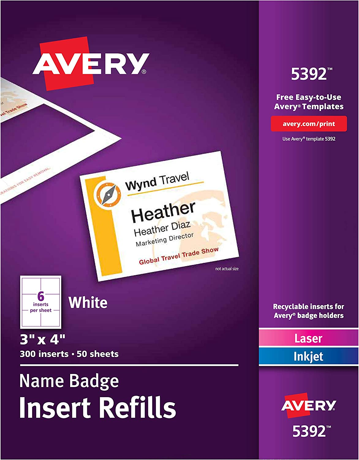 Avery Name List Atlanta Mall price Badge Inserts Print or Write Card 300 x S 4 3 Inch