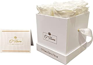 O'Hara Des Fleur Preserved Real Rose| Eternal Flowers in a Box | Natural Fragrance, Color, and Style Up to 1 Year | Best Gift for Her, Birthday, Anniversary, Christmas (White, White Box)