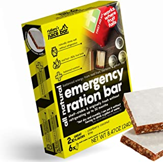 Nature's Juice Bar Emergency Food Bars - Meal Replacement for Survival, Disaster Preparedness that Provides Healthy Energy...
