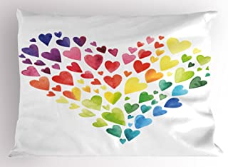 Ambesonne Rainbow Pillow Sham, Multicolored Hearts forming a Giant Colorful Rainbow Inspired Heart Love Artwork, Decorative Standard King Size Printed Pillowcase, 36 X 20 Inches, Multicolor