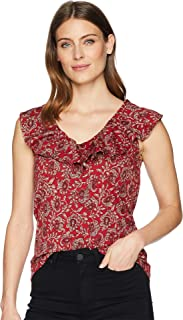 Chaps Womens Paisley Ruffled Jersey Top