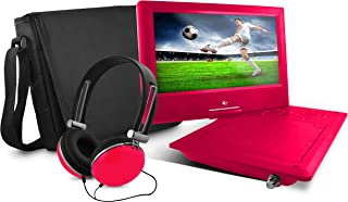 Ematic Portable DVD Player with 9-inch LCD Swivel Screen, Travel Bag, Headphones and TV Tuner, Red