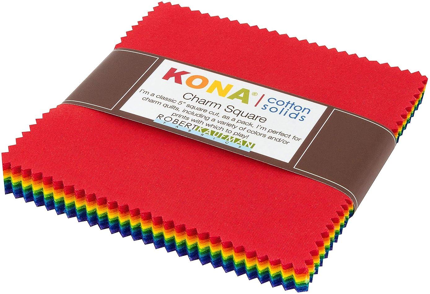 Kona Cotton Solids Bright Rainbow Charm Square 42 5-inch Squares Robert Kaufman CHS-734-42