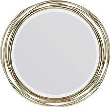 مرآة حائط دائرية مزخرفة باللون الذهبي مقاس 43.18 سم، مزودة بعصابات معدنية، مقاس 43.18 سم من ستونيبريار