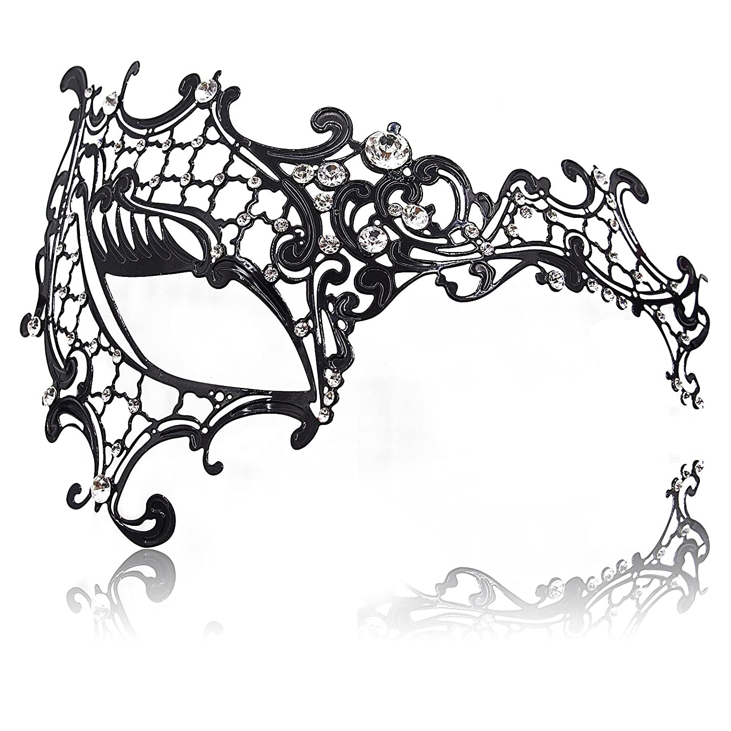 FaceWood Masquerade Mask for Women Ultralight Metal Mask Shiny Metal Rhinestone Venetian Pretty Party Evening Prom Ball Mask.