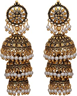 Jwellmart Bollywood Traditional Ethnic Pearl Jhumka Jhumki Indian Earrings for Women and Girls