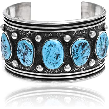 $1580Tag Cloud Silver Certified Navajo Native Turquoise Cuff Bracelet 390803939655 Made by Loma Siiva