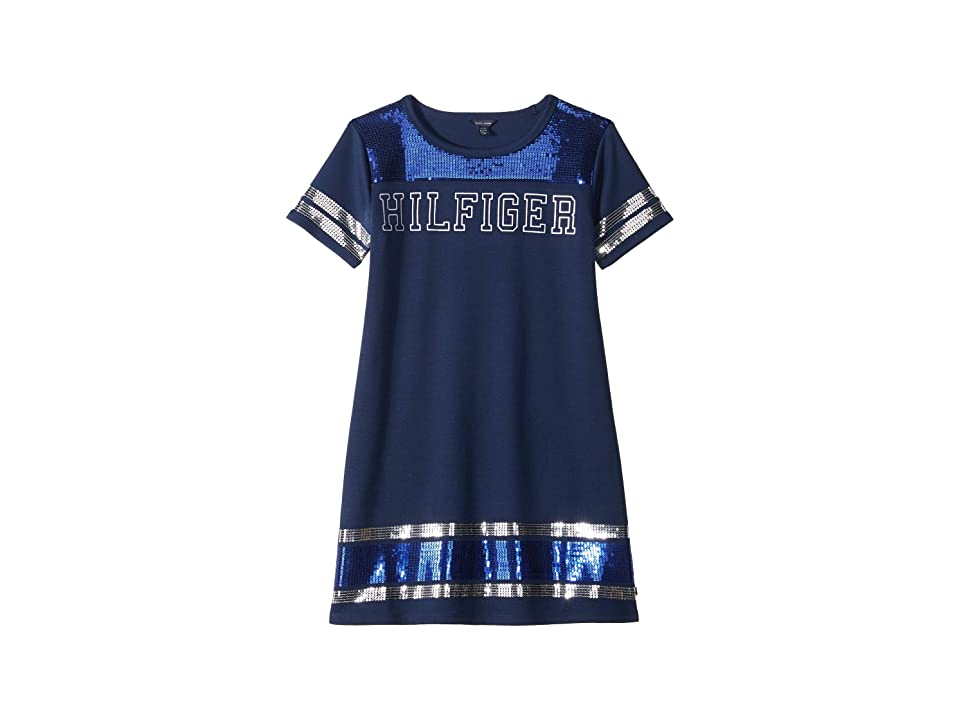 Tommy Hilfiger Kids Stripe Trim Dress (Big Kids) (Flag Blue) Girl