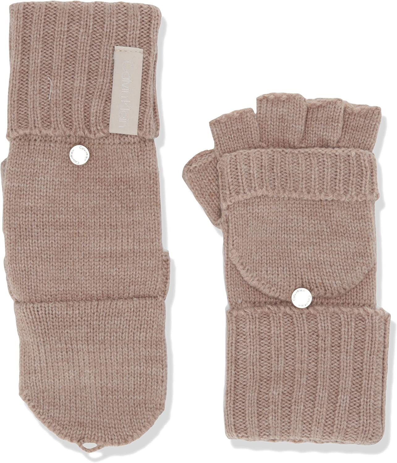 Calvin Klein womens Knitted Convertible Fingerless Gloves With Mitten Flap Cover