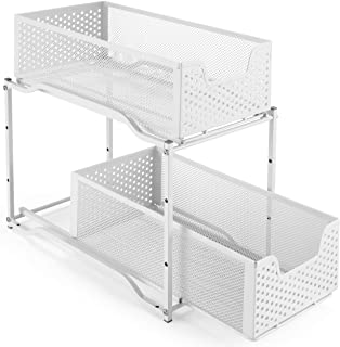 Simple Trending Stackable 2-Tier Under Sink Cabinet Organizer with Sliding Storage Drawer, White
