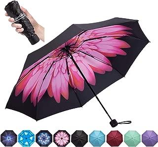 Goothdurs Travel Mini Umbrella - Compact Small Sun & Rain Windproof Umbrellas for Women Men with 95% Anti-UV Portable Lightweight Outdoor Parasol