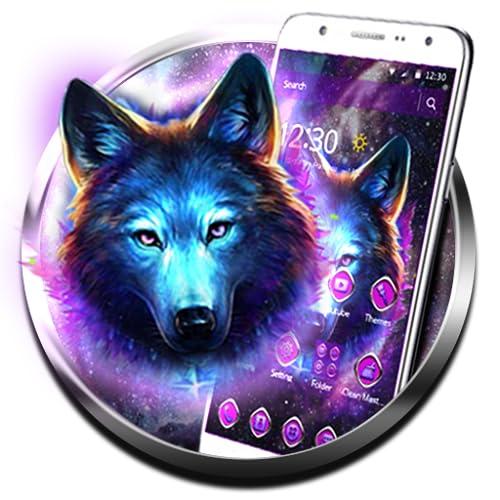 Purple Neon Wild Wolf 2D Theme