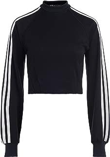 Y-3 Woman's Black Crewneck Sweatshirt with White Side Stripes