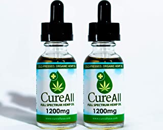 (2-Pack) CureAll Hemp Oil Extract for Pain & Stress Relief - 1200mg of Organic Hemp Extract - Grown & Made in USA - 100% Natural Hemp Seed Extract - Helps with Sleep, Skin & Hair