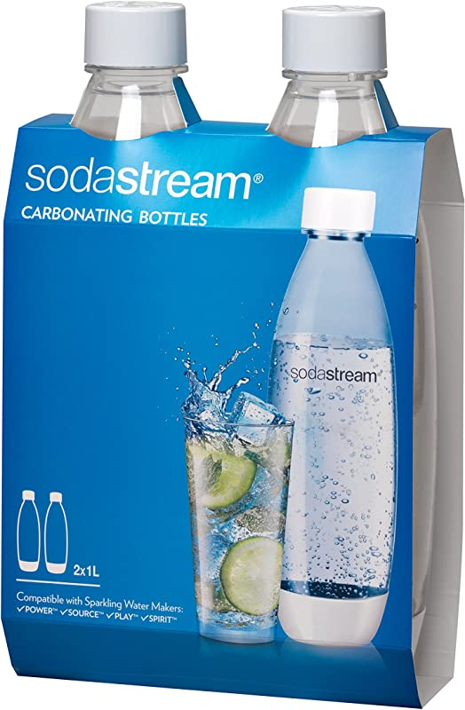 SodaStream 1L Slim White Carbonating Bottle Twin Pack