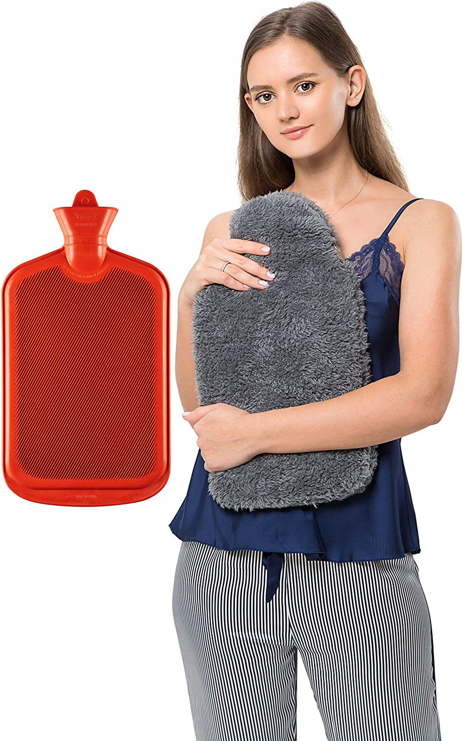 Peterpan Teddy Charcoal Rubber Hot Water Bottle Cover, Size: XXX-Large, Hot Water Bag for Pain Relief, BPA & Phthalates Free,100 Fl Oz Capacity, Gray : Health & Household
