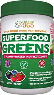 Superfood Vital Greens - Very Berry by Feel Great 365, Doctor Form Made with Organic Ingredients, Vitamins, Minerals, Vegan, Whole Food Powder - Fruits, Veggies and Probiotics