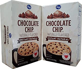 Kroger Instant Oatmeal Naturally Flavored Source of 7 Vitamins & Minerals Pantry Pack 10 Servings 63% Whole Grain (Chocolate Chip) (2 Pk)