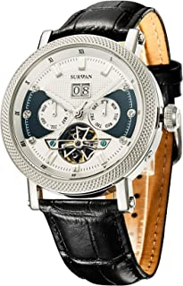 Men's Automatic Watch Sapphire Crystal Leather Strap (Silver)