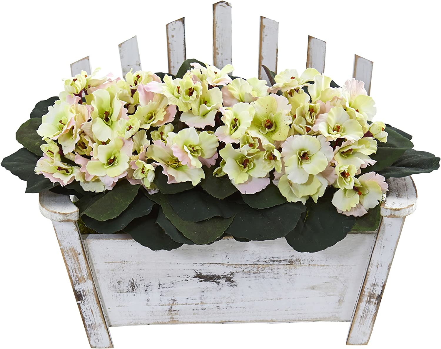 Nearly Natural African Violet Artificial Plant In Wooden Bench Planter Home Kitchen