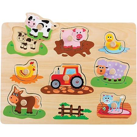 Lelin Wooden Farm Animals Peg Puzzle