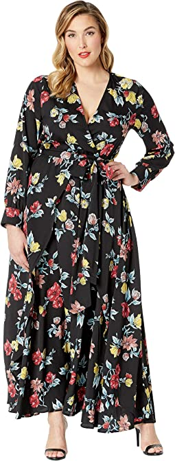 Plus Size Floral Long Sleeve Farrah Maxi Dress