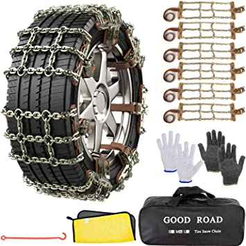 AutoChoice 6 Packs Car Snow Chains Emergency Anti Slip Tire Chains with Thickened Manganese Steel for Truck SUV in Snow, Ice, Sand and Mud(Tire Width 195-235mm): image