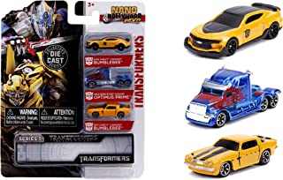 Jada Toys Transformers Nano Hollywood Rides 2016 Chevy Camaro Bumblebee, Western Star 5700XE Optimus Prime and 1977 Chevy ...