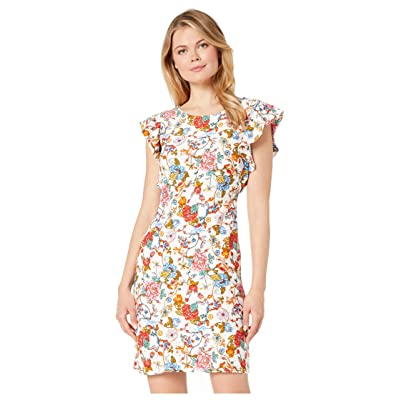 eci Multi Paisley Floral Print Knit Eyelet Shift Dress with Flutter Sleeves (Ivory/Red) Women