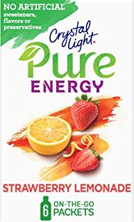 Crystal Light Pure Energy Strawberry Lemonade Drink Mix (48 On the Go Packets, 8 Boxes of 6)