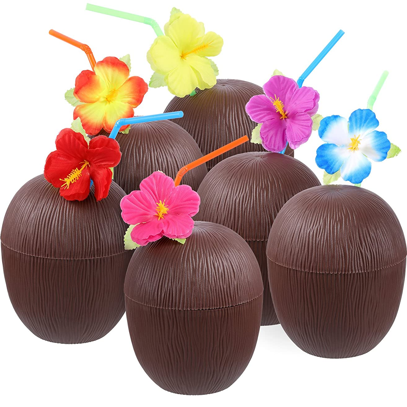 Gejoy 12 Pieces Hawaiian Luau Plastic Coconut Cups with Hibiscus Flower Bendable Straws for Beach Theme Party Supplies