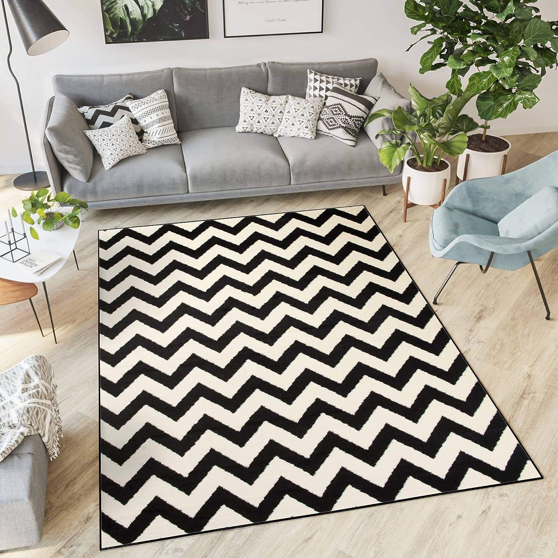 Tapiso Dream Teppich Wohnzimmer Modern Kurzflor Wei Schwarz Geometrisch Zig Zag Streifen Gestreift Schlafzimmer KOTEX 180 x 250 cm