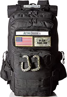 Active Doodie Dads Diaper Bag Backpack, Changing Pad, Stroller Straps and Insulated Bottle Holder, Daddy Baby Bag for Men, Military Style (Dad Squad Velcro Patches, Black, Large)