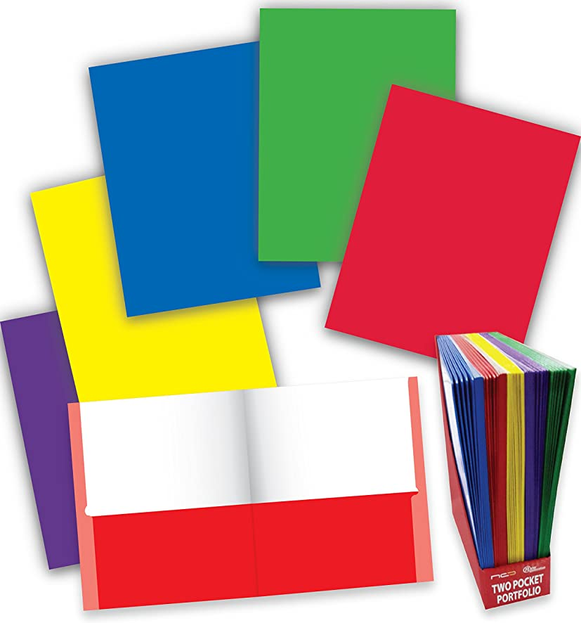 New Generation - 2 Pocket Folder - 50 Pack, Twin Pocket Folder/Portfolio,Letter Size,11.5 x 9.2 Inches Heavyweight Paper Folder - Assorted 5 Primary Fashion Colors. (50 Pack NO PRONGS)