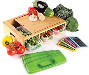 Bamboo Cutting board with 3 containers each with clip seal lids, food, microwave and dishwasher safe, 3 graters, 1 slicer, eco, organic and environmentally friendly