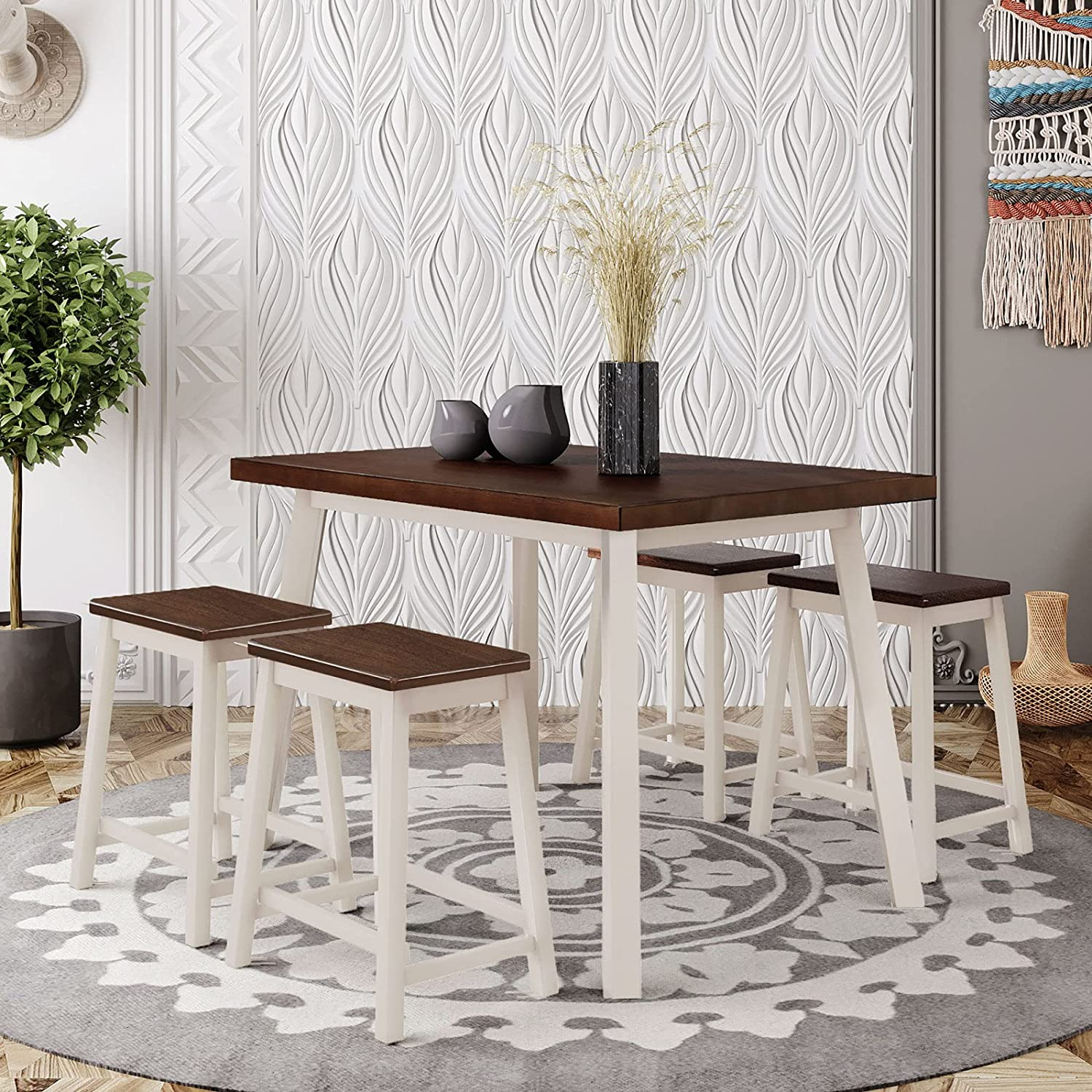5 Pcs Dining Table Detroit Mall Set Modern Stools Bar Rust with 4 Max 45% OFF
